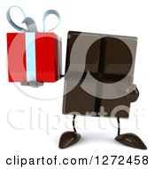 Clipart Of A 3d Chocolate Candy Bar Character Holding And Pointing To A Gift Royalty Free Illustration