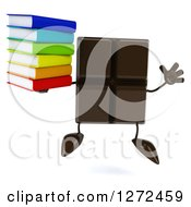 Clipart Of A 3d Chocolate Candy Bar Character Jumping And Holding A Stack Of Books Royalty Free Illustration