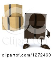 Clipart Of A 3d Chocolate Candy Bar Character Holding Boxes Royalty Free Illustration