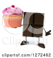 Clipart Of A 3d Chocolate Candy Bar Character Shrugging And Holding A Pink Frosted Cupcake Royalty Free Illustration
