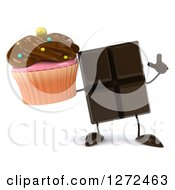 Clipart Of A 3d Chocolate Candy Bar Character Holding Up A Finger And A Cupcake Royalty Free Illustration