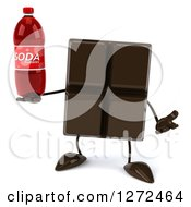 Clipart Of A 3d Chocolate Candy Bar Character Shrugging And Holding A Soda Bottle Royalty Free Illustration