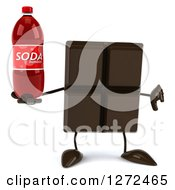 Clipart Of A 3d Chocolate Candy Bar Character Holding A Thumb Down And A Soda Bottle Royalty Free Illustration