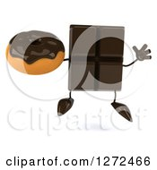 Clipart Of A 3d Chocolate Candy Bar Character Jumping And Holding A Donut Royalty Free Illustration