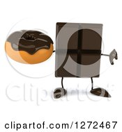 Clipart Of A 3d Chocolate Candy Bar Character Holding A Thumb Down And A Donut Royalty Free Illustration