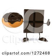 Clipart Of A 3d Chocolate Candy Bar Character Holding A Thumb Up And A Donut Royalty Free Illustration