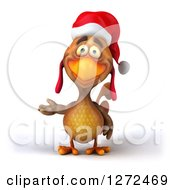 Clipart Of A 3d Brown Christmas Chicken Presenting To The Left Royalty Free Illustration