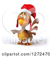 Clipart Of A 3d Brown Christmas Chicken Pointing To The Left Royalty Free Illustration