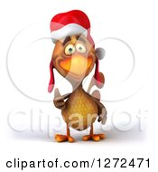 Clipart Of A 3d Brown Christmas Chicken Giving A Thumb Up Royalty Free Illustration