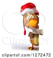 Clipart Of A 3d Brown Christmas Chicken Pointing Around A Sign Royalty Free Illustration
