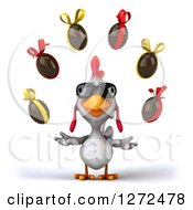Clipart Of A 3d White Chicken Wearing Sunglasses And Juggling Chocolate Easter Eggs Royalty Free Illustration
