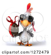 Clipart Of A 3d White Chicken Wearing Sunglasses And Walking With A Chocolate Easter Egg Royalty Free Illustration