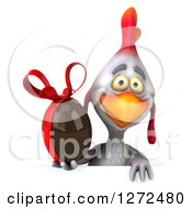 Clipart Of A 3d White Chicken Holding A Chocolate Easter Egg Over A Sign Royalty Free Illustration