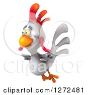 Clipart Of A 3d White Chicken Flying To The Left Royalty Free Illustration