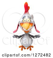 Clipart Of A 3d White Chicken Flying Forward Royalty Free Illustration