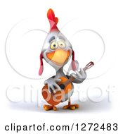 Clipart Of A 3d White Chicken Playing A Guitar Royalty Free Illustration