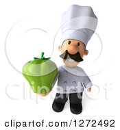 Clipart Of A 3d Short Male Chef With A Mustache Holding Up A Green Bell Pepper Royalty Free Illustration