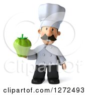 Clipart Of A 3d Short Male Chef With A Mustache Holding A Green Bell Pepper Royalty Free Illustration