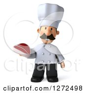 Clipart Of A 3d Short Male Chef With A Mustache Holding A Beef Steak Royalty Free Illustration