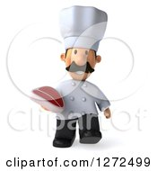 Clipart Of A 3d Short Male Chef With A Mustache Walking Forward And Holding A Beef Steak Royalty Free Illustration