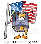 Clipart Picture Of A Suitcase Cartoon Character Pledging Allegiance To An American Flag by Toons4Biz
