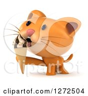 Clipart Of A 3d Ginger Cat Licking An Ice Cream Cone Royalty Free Illustration