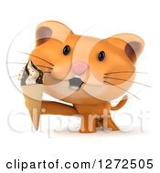 Clipart Of A 3d Ginger Cat Holding An Ice Cream Cone Royalty Free Illustration