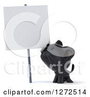 Clipart Of A 3d Black Kitten Looking Up At A Blank Sign Royalty Free Illustration