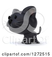 Clipart Of A 3d Black Kitten Facing To The Left Royalty Free Illustration