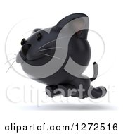 Clipart Of A 3d Black Kitten Leaping And Running To The Left Royalty Free Illustration