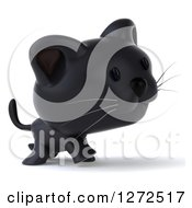 Clipart Of A 3d Black Kitten Walking To The Right Royalty Free Illustration