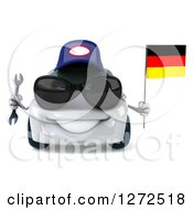 Clipart Of A 3d White Compact Mechanic Porsche Car Wearing Sunglasses Holding A Wrench And A German Flag Royalty Free Illustration