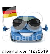 Clipart Of A 3d Blue Compact Porsche Car Wearing Sunglasses Holding A Thumb Up And A German Flag Royalty Free Illustration