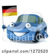 Clipart Of A 3d Blue Compact Porsche Car Holding A German Flag Royalty Free Illustration