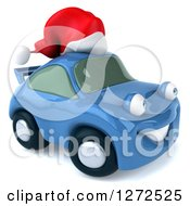Clipart Of A 3d Blue Christmas Porsche Car Facing Right And Wearing A Santa Hat Royalty Free Illustration by Julos