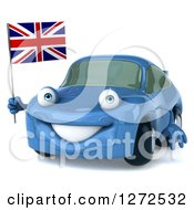 Clipart Of A 3d Blue Compact Porsche Car Holding A British Flag Royalty Free Illustration
