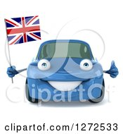 Clipart Of A 3d Blue Compact Porsche Car Holding A British Flag And Thumb Up Royalty Free Illustration