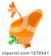 Clipart Of A 3d Carrot Character Cartwheeling Royalty Free Illustration