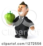 Clipart Of A 3d Short White Businessman Walking To The Left And Holding A Green Bell Pepper Royalty Free Illustration