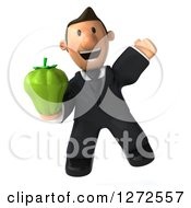 Clipart Of A 3d Short White Businessman Jumping And Holding A Green Bell Pepper Royalty Free Illustration