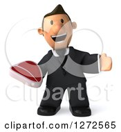 Clipart Of A 3d Short White Businessman Gesturing And Holding A Beef Steak Royalty Free Illustration
