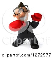 Clipart Of A 3d Short White Bespectacled Businessman Punching With Boxing Gloves Royalty Free Illustration
