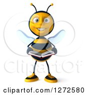 Clipart Of A 3d Bee Character Holding An Open Book Royalty Free Illustration