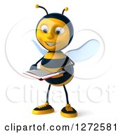 Clipart Of A 3d Bee Character Reading A Book Royalty Free Illustration