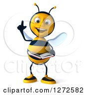 Clipart Of A 3d Bee Character With An Idea Reading A Book Royalty Free Illustration