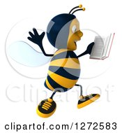 Clipart Of A 3d Bee Character Facing Right Jumping And Reading A Book Royalty Free Illustration