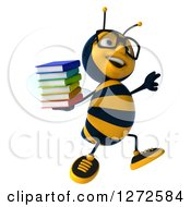 Clipart Of A 3d Bespectacled Bee Character Holding A Stack Of Books And Jumping Royalty Free Illustration