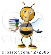 Clipart Of A 3d Bee Character Holding A Stack Of Books And Gesturing Royalty Free Illustration