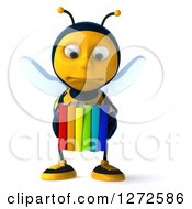 Clipart Of A 3d Sad Bee Character Holding Colorful Books Royalty Free Illustration