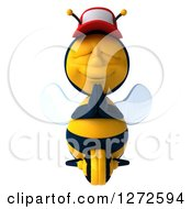 Clipart Of A 3d Bee Wearing A Baseball Cap And Meditating Royalty Free Illustration